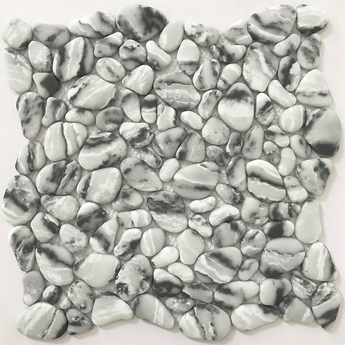 River rock enamel Arabescato is dramatic mosaic with it's white background and dramatic black and dark grey veining
