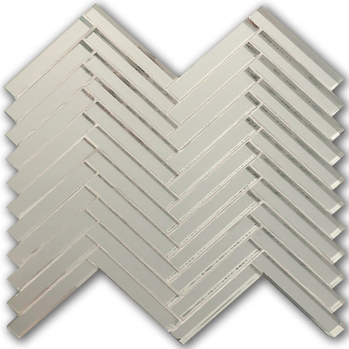 Herringbone mirror tile a full piece measuring just under one square foot