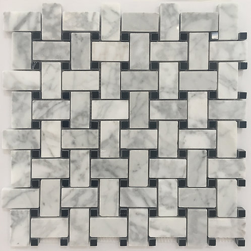 Classic black and white marble mosaic basketweave is beautiful in any space