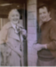 Alfredo with his sister Anna, outside the original Cercan Tile showroom. Circa 1970.