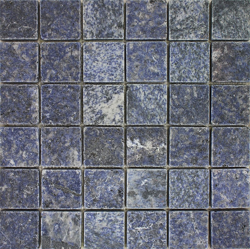 "Azul Bahia 2"" tumbled marble.  Blue Granite mosaic stone tile.  Most durable of the blue stones."