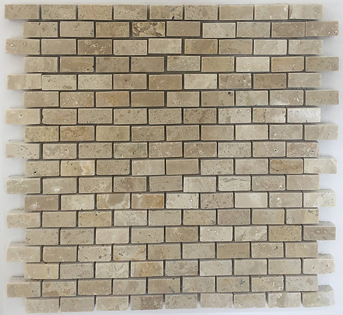 Brick joint travertine chiaro mosaic with the perfect polish to add glitter