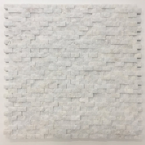 Bianco Hizhou splitface tumbled marble, white, crisp and clean texture