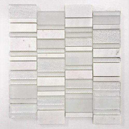 mix glass and stone rectanglles to create this unique mosaic that will make any wall or backsplash modern and up to date
