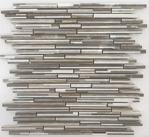 Staggered marble rectangles of taupes and whites are fused together to create dark, light guizhou & bianco thassos pattern