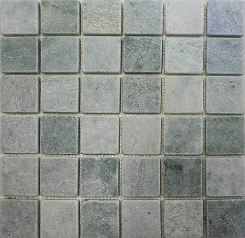Ming green 2x2 tumbled seafoam green marble mosaic