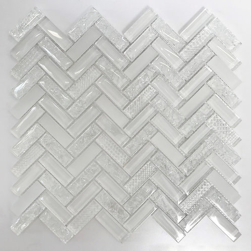 herringbone glass tile in mosaic size for installation on your walls