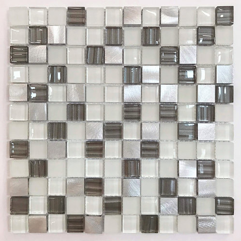 "Picture Glass & Brushed Aluminum 1""x 1"" shimmers. Capture attention in an all white kitchen or bathroom with this mosaic"