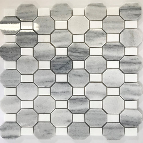 Octagon and dot polished marble stone tile