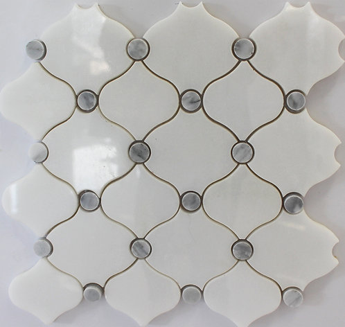 Carrara marble combined with white marble create a simple pattern in stone tile for backsplash and bathroom walls or floors