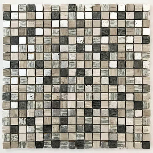 grey and beige mosaics are combined to create our grey silver sand mix. with silver leaf and natural stone tile