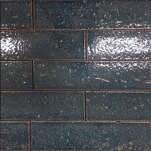 Slate Teal Crafted Brick a rich blue green ceramic tile with textural interest that will make any wall installation memorable
