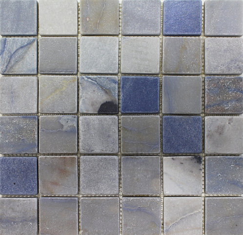 "Azul Macaubas 2""x 2"" tumbled quartzite.  Prestigious, luxurious for your home - bathroom, kitchen backsplash, fireplace"