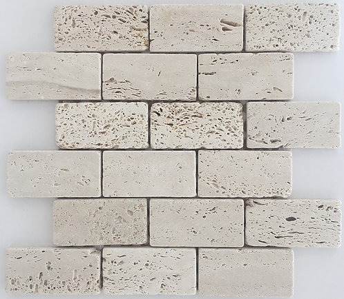Travertine Chiaro or White Travertine 2x4 subway tile great for walls and floors