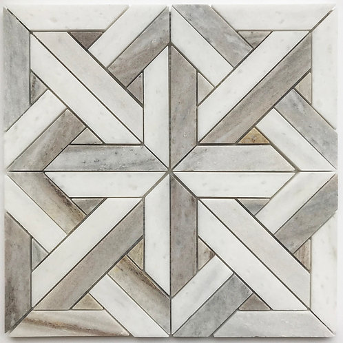 Weaver's Art Carrara is a marble mosaic that uses three different natural stones to create interest