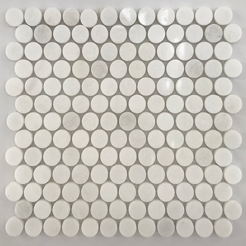 A round mosaic tile featuring white marble.
