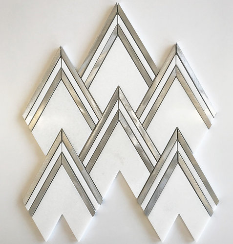 geometric pattern meets bianco thassos marble and silver aluminum