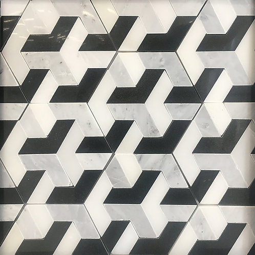 Illusion:  a geometric marble pattern that plays with your mind and adds interest to your floors and walls.