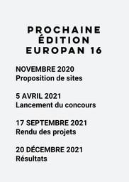 Europan 16 - Dates du concours