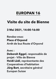 E16 - Bienne (BE) - Visite du site