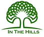 In The Hills Logo, white background with green tree with geometric top and lotus shape in center of top of tree