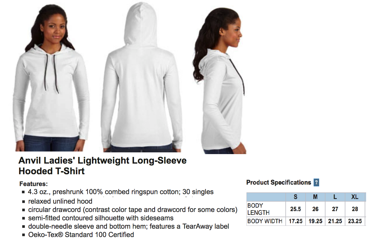 Anvil Ladies Hooded Long Sleeve