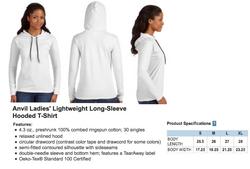 Anvil Ladies Hooded Long Sleeve