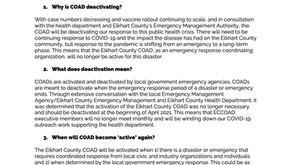 Spring 2021 COAD Deactivation FAQs