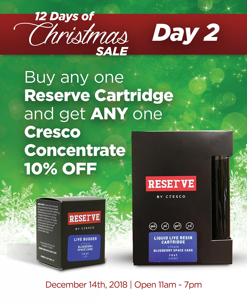 Buy any one Reserve by Cresco Cartridge and get 10% OFF ANY one Cresco Concentrate.