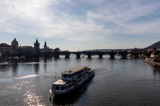 Prague - Pont Charles - rivière Vltava