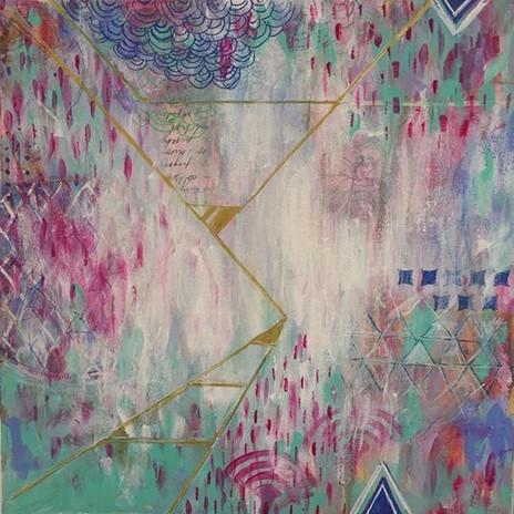 """Dernière création_12""""x12""""_Techniques mix"""