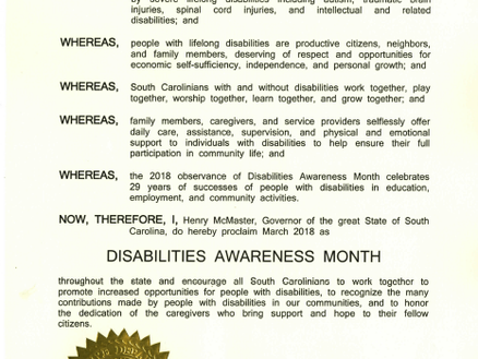 """SC Governor proclaims month of March """"Disabilities Awareness Month"""""""