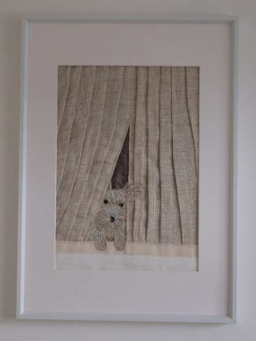 DOG AT WINDOW ORIGINAL - 43 cm x 31 cm