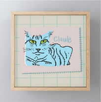 Framed Blue Claude Mini-print