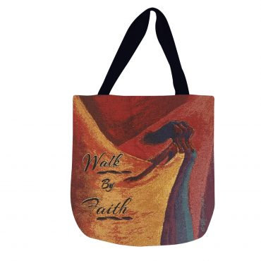 WALK BY FAITH Woven Tote Bag