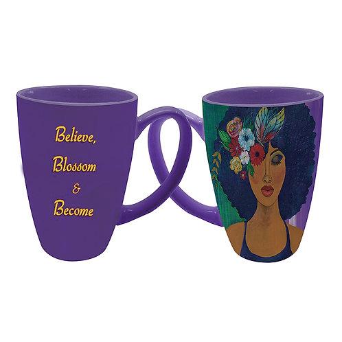 Believe, Blossom and Become Latte Mug