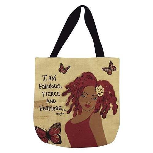 I AM FABULOUS, FIERCE AND FEARLESS WOVEN TOTE BAG