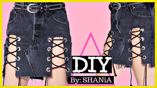 DIY Jean Skirt with Lace Up Front
