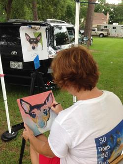 Artist Leiann painting Mitch