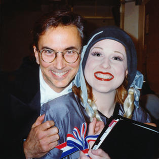 Karyn in Off-Broadway's STRIKE UP THE BAND pictured with Music Director Rob Fisher