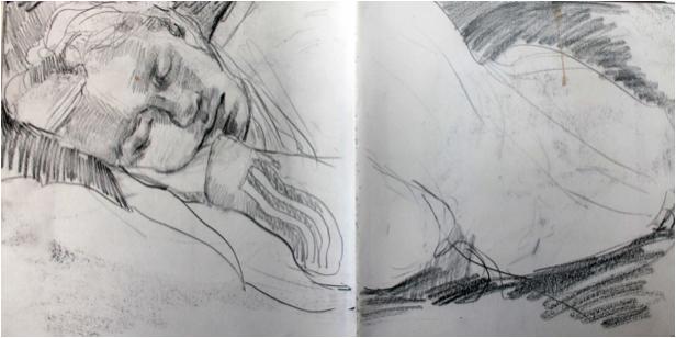Sketchbook sleeping figure study