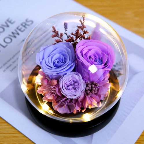 Preserved Floral Small Globe - Pastel Sweetness