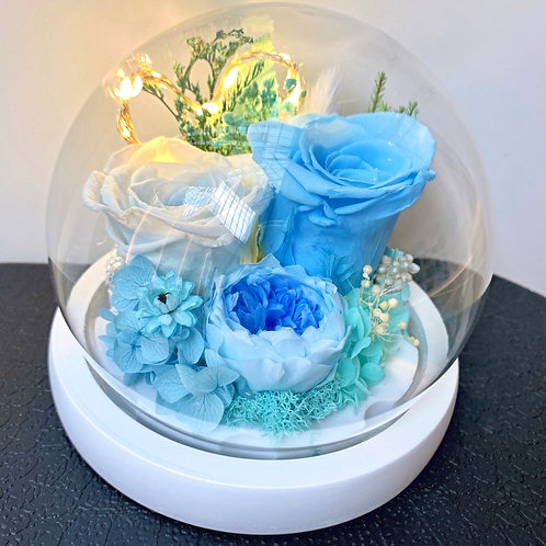 Preserved Floral Small Globe - Sweet Azure