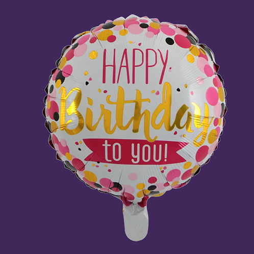 Happy Birthday (Pink) Helium Balloon Add On