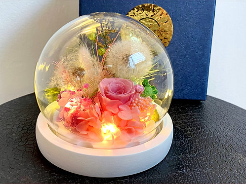 Preserved Floral Small Globe - Dandelion & Rose