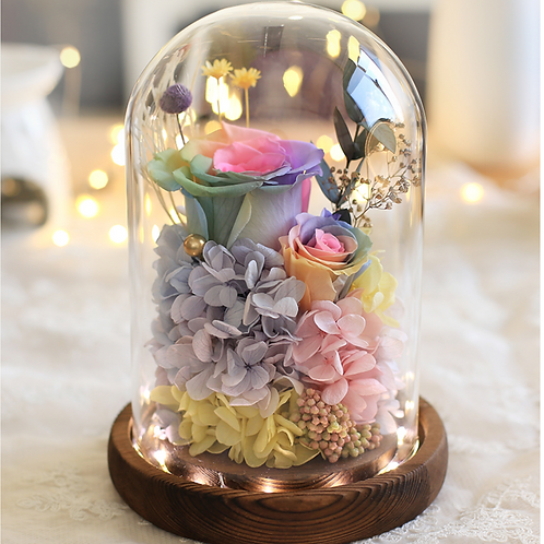 Preserved Floral Dome - Rainbow Fantasy