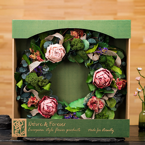 Preserved Poeny Wreath