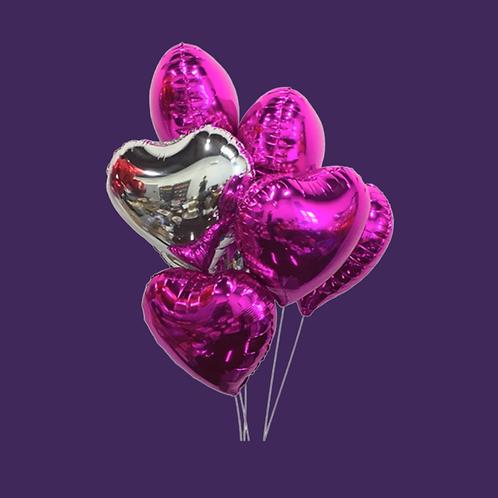 Bundle of Dark Pink & Silver Hearts Add On