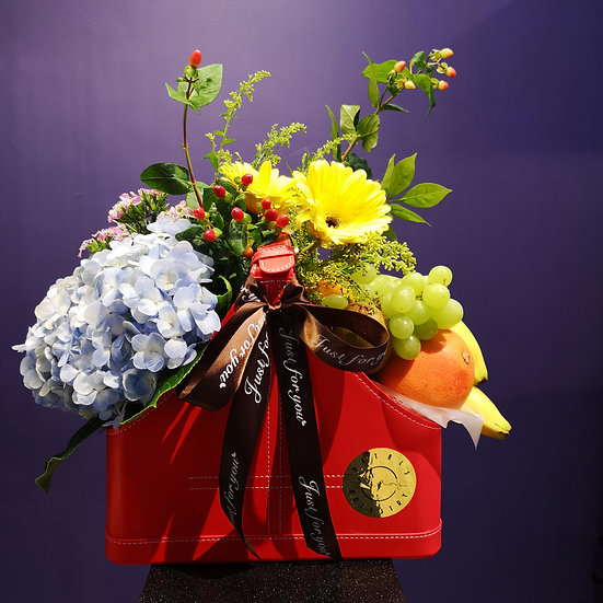 Red Leather Hamper of Fruits