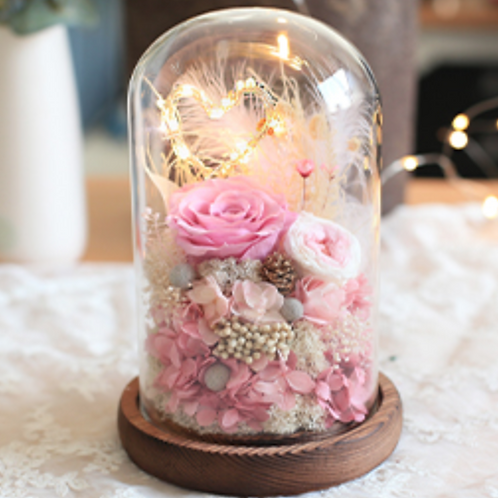 Preserved Floral Dome - Pink Heart